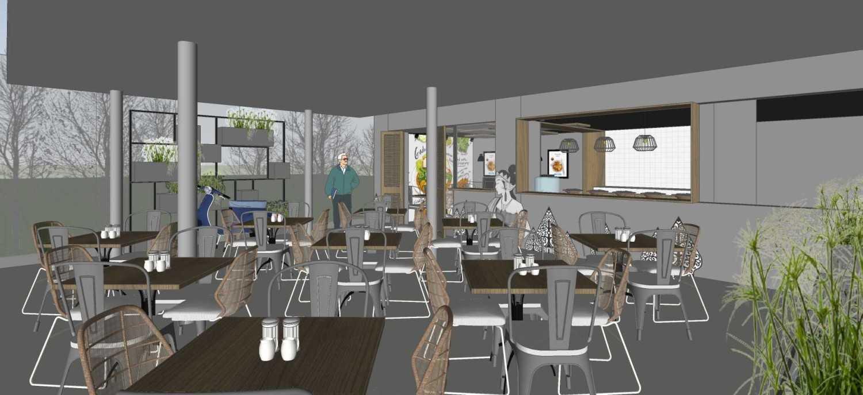 Foto inspirasi ide desain restoran tropis Main area oleh segitiga studio di Arsitag
