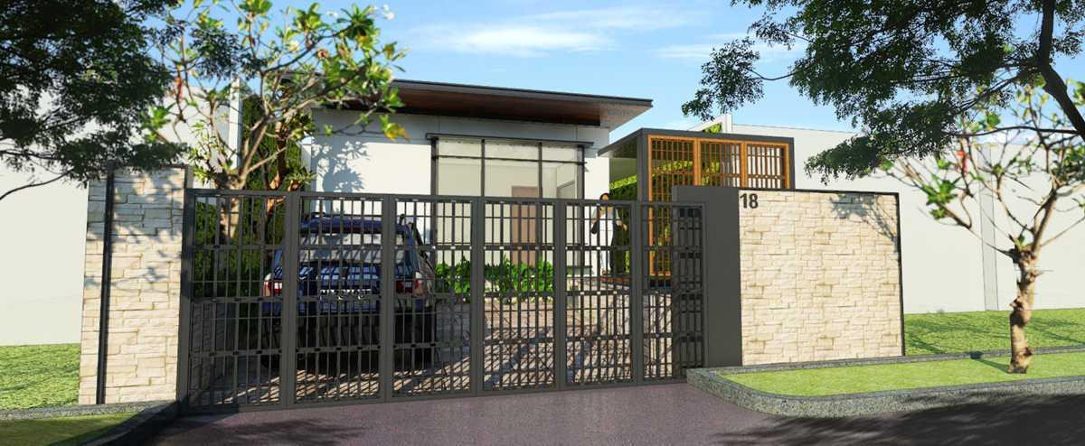 Indra Gunadi Jatiwarna Small House Jatiwarna, Bekasi Jatiwarna, Bekasi Facade-White-Modern-Fence Tropis 25845
