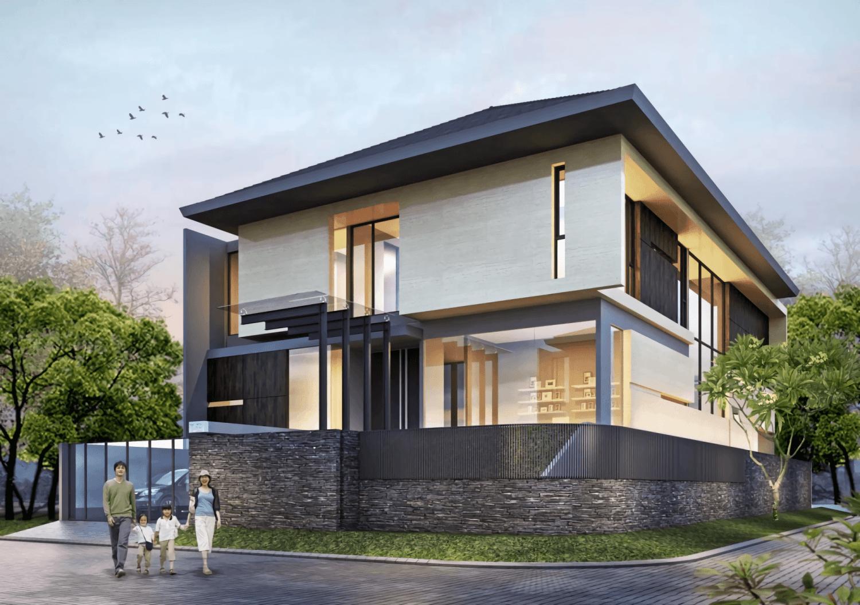 Foto inspirasi ide desain rumah modern Front view oleh IVAN PRIATMAN ARCHITECTURE di Arsitag