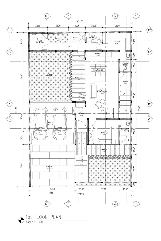 Mahastudio & Partner Cilandak House Cilandak, Jakarta Selatan Cilandak, Jakarta Selatan 1St-Floor-Plan Tropis 25204