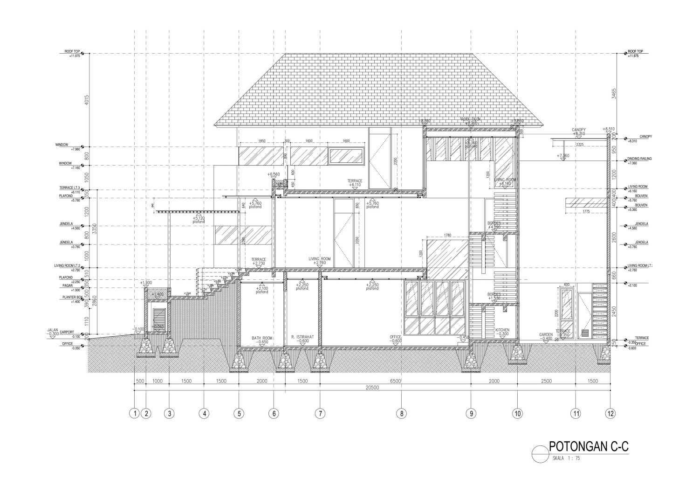 Mahastudio & Partner House At Lebak Bulus Lb. Bulus, Cilandak, Kota Jakarta Selatan, Daerah Khusus Ibukota Jakarta, Indonesia Jakarta A2-04-Potongan-C Tropis 28357