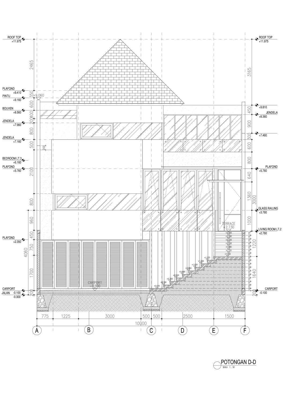 Mahastudio & Partner House At Lebak Bulus Lb. Bulus, Cilandak, Kota Jakarta Selatan, Daerah Khusus Ibukota Jakarta, Indonesia Jakarta A2-05-Potongan-D Tropis 28358