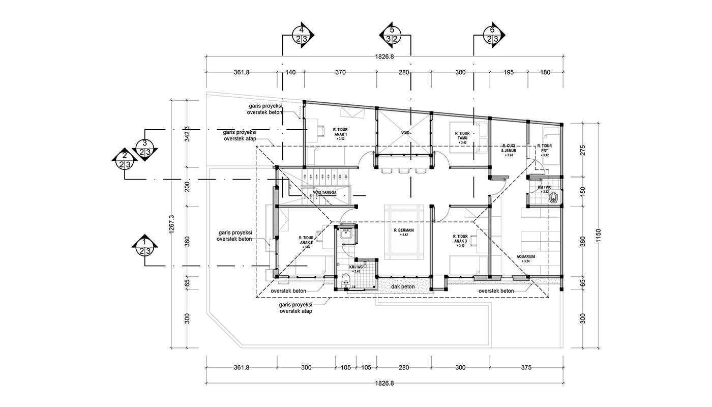 Rekabentuk Id N.y. House Bandung, Jawa Barat Bandung, Jawa Barat Denah Lantai 2 Modern 33504