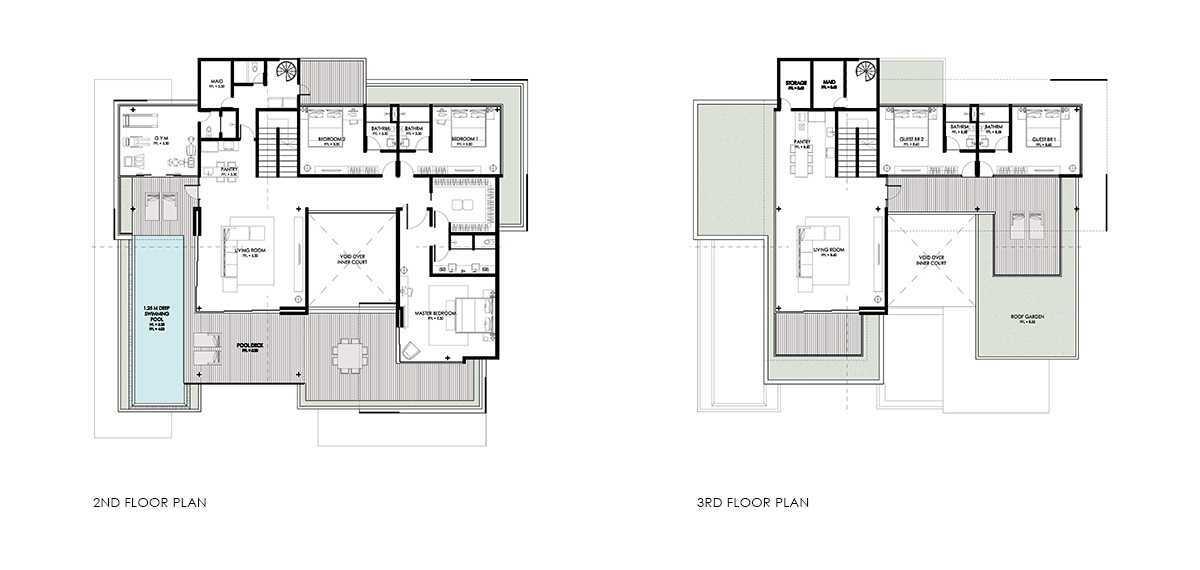 Spark Architects S Residence Palembang Palembang Golf-House-2Nd-3Rd-Floor-Plan- Modern 28221