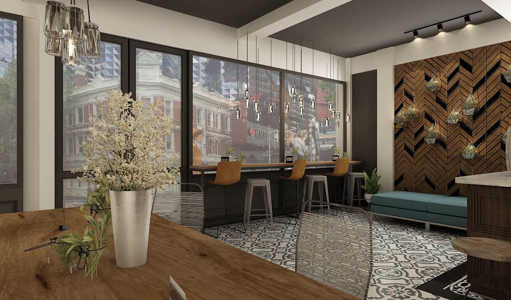 Foto inspirasi ide desain perpustakaan modern Bacarat-cafe-5 oleh KOMA di Arsitag