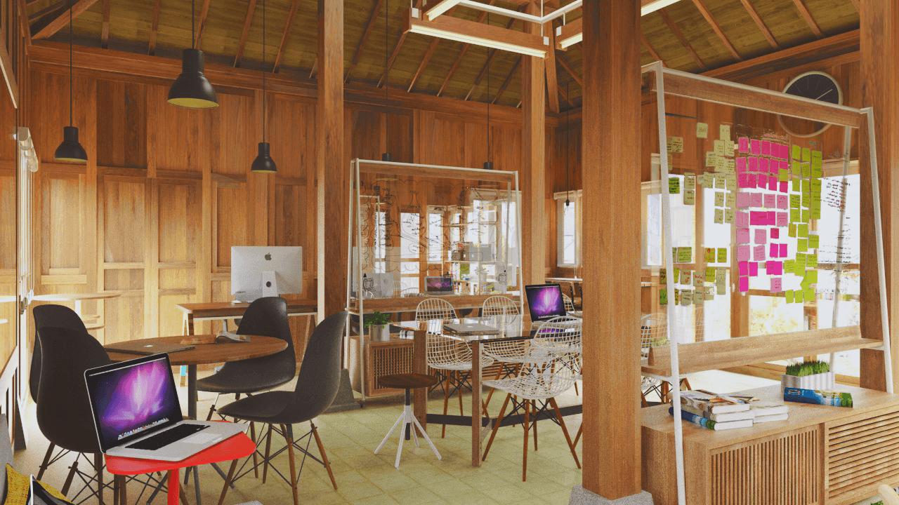 Foto inspirasi ide desain ruang kerja tradisional Workarea oleh D4 Studio di Arsitag