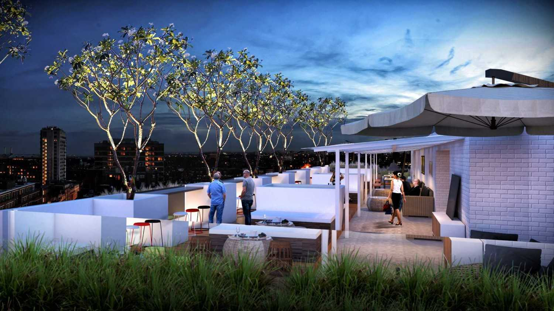 Foto inspirasi ide desain atap kontemporer Rooftop-cafe-view1 oleh Zigzag Architecture Studio di Arsitag