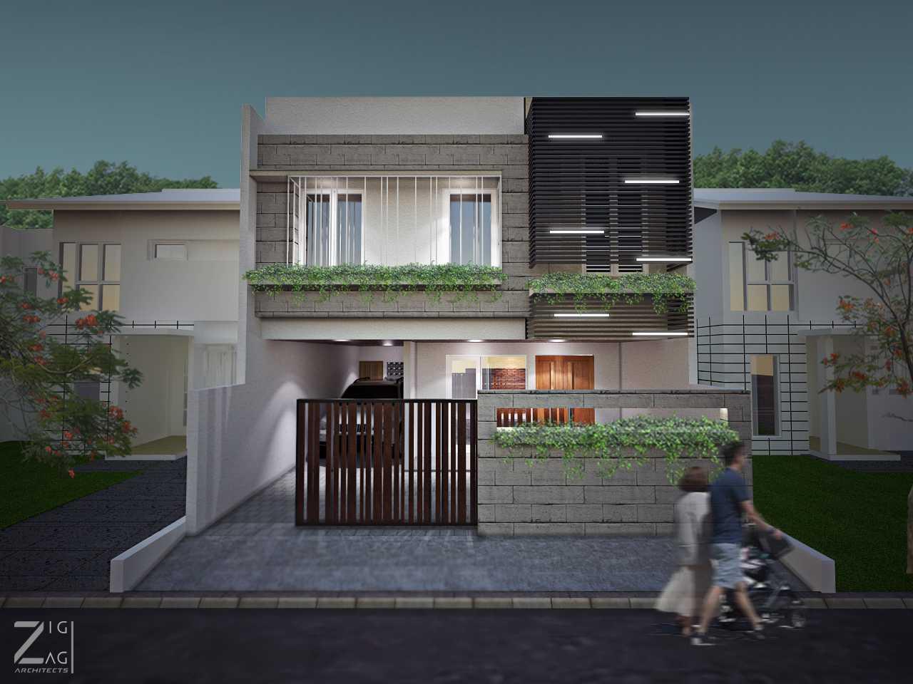 Zigzag Architecture Studio Box House  Ciledug, Kota Tangerang, Banten, Indonesia Ciledug, Kota Tangerang, Banten, Indonesia Front View Rendering Contemporary 41119