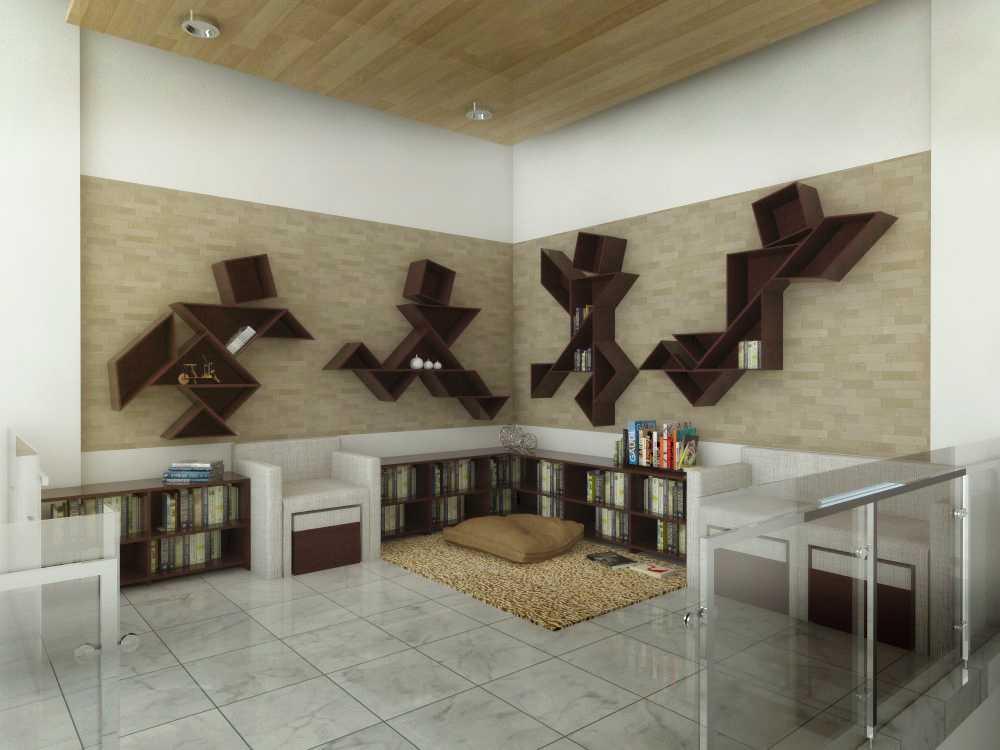 Foto inspirasi ide desain perpustakaan minimalis Reading room oleh Vastu Cipta Persada di Arsitag