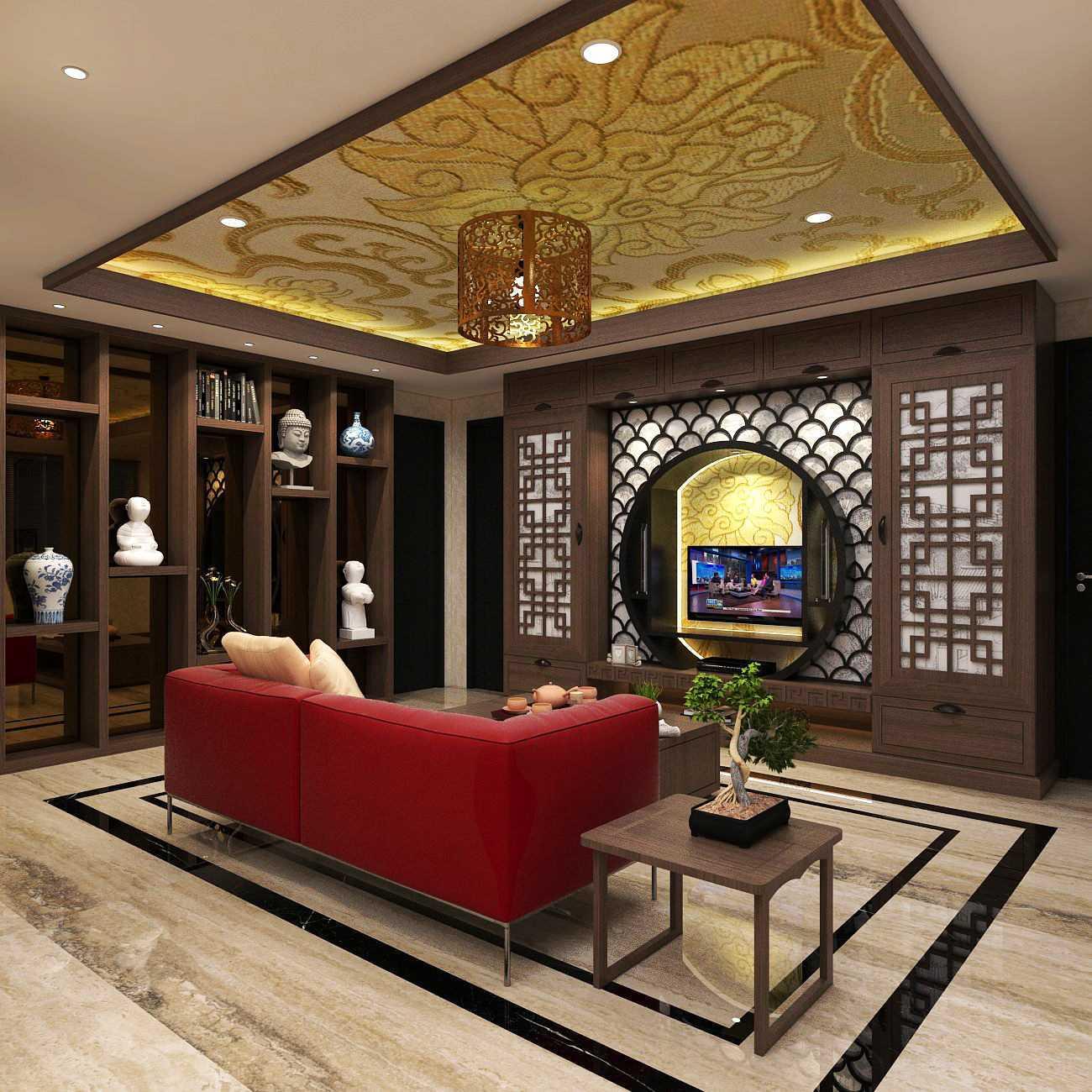 Foto inspirasi ide desain ruang keluarga asian Asian house hegarmanah - living room oleh D-CreArt Design di Arsitag