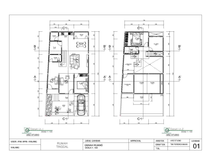 Arz Studio Pekerjaan Renovasi Rumah Bapak Apri  Singosari, Malang, Jawa Timur, Indonesia Singosari, Malang, Jawa Timur, Indonesia Denah-Ruang-Lt-1-2 Minimalis 45348
