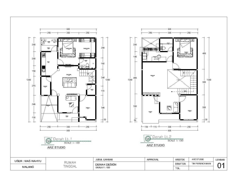 Arz Studio Desain Renovasi Rumah 2 Lt. Malang, Kota Malang, Jawa Timur, Indonesia Malang, Kota Malang, Jawa Timur, Indonesia Floorplan Minimalist 45338