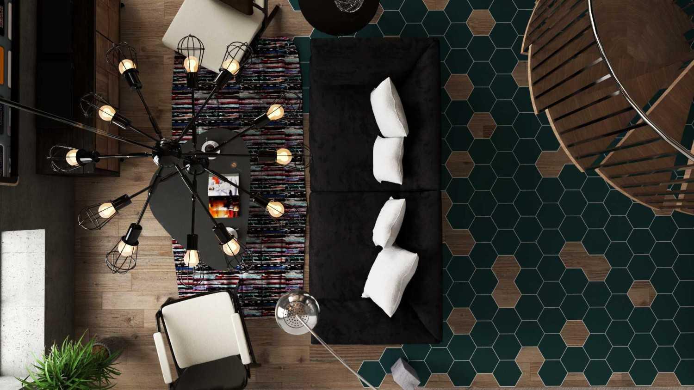 Foto inspirasi ide desain apartemen industrial Top view living room oleh Andi Fauzy Aldino di Arsitag