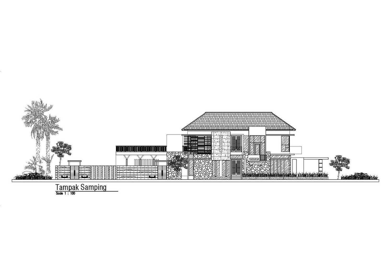 Satuvista Architect Rumah Tropis Hook Kabupaten Jombang, Jawa Timur, Indonesia Jawa Timur, Indonesia Tampak Samping  48710