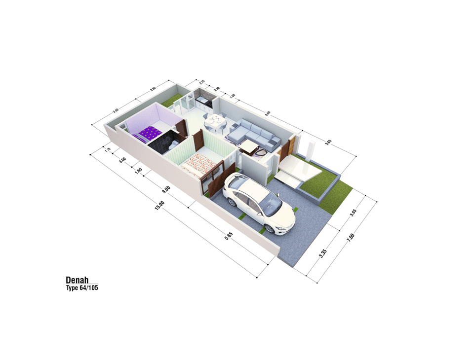 Satuvista Architect Perumahan Bernady Land Slawu  Kabupaten Jember, Jawa Timur, Indonesia Kabupaten Jember, Jawa Timur, Indonesia Floorplan Minimalist 50523