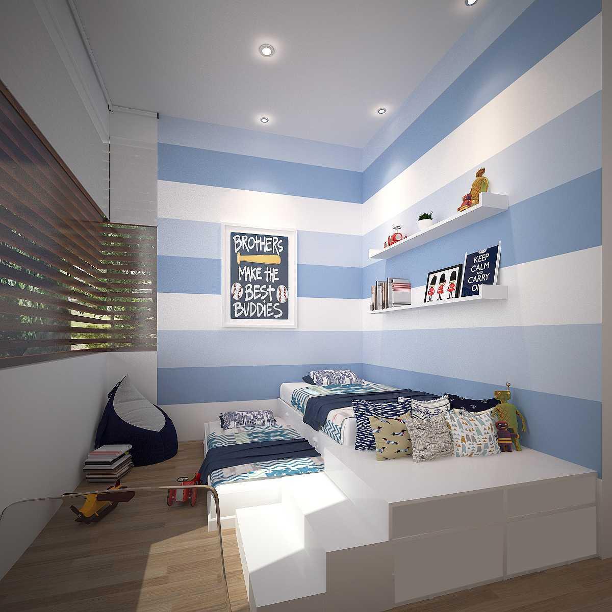 Foto inspirasi ide desain kamar tidur anak tropis Kids bedroom oleh KY Interior Design di Arsitag