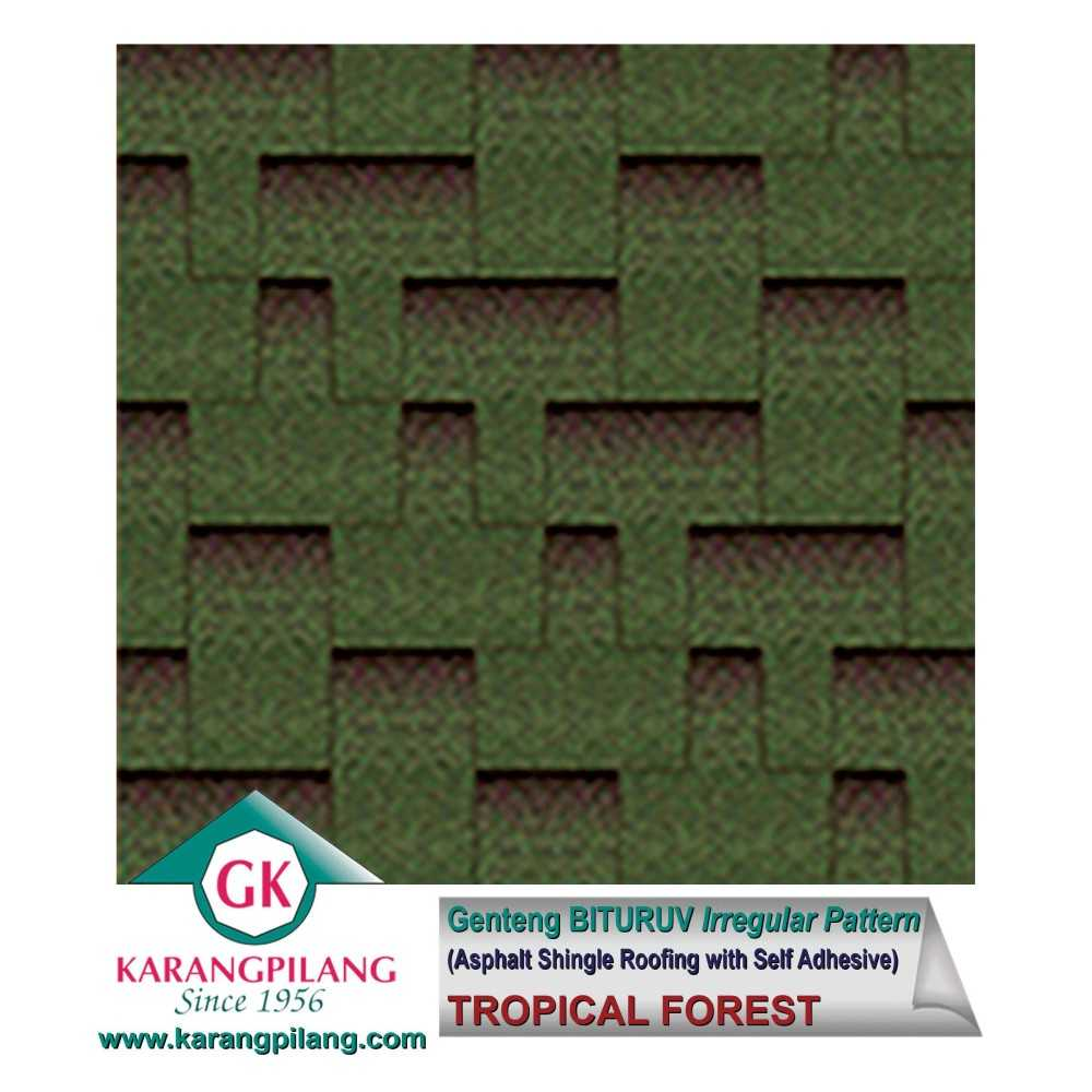 Variasi 50% Tropical Forest + 50%  Slate Black (Irregular Pattern)  ConstructionRoofsSheets And Panels For Roofs 1