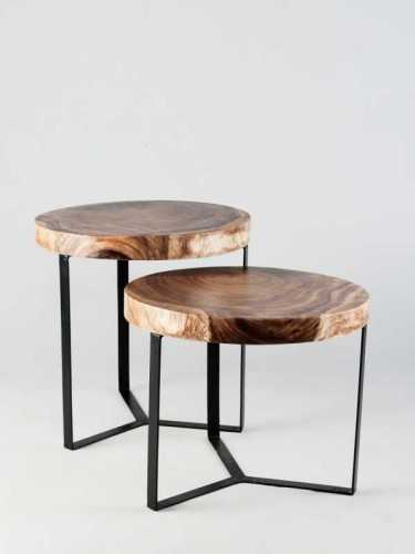 Foto produk  Cartagena Set Of Two Coffee/side Table Natural Top Black Leg di Arsitag