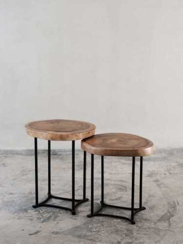Giroppon Side/cofee Table Set Of Two Natural Black FurnitureTables And ChairsCoffee Tables