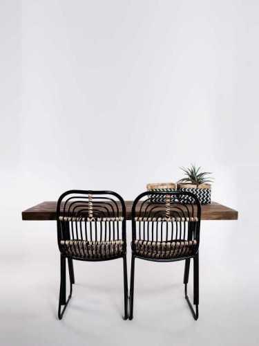 Manuela Teakwood Dining Table Natural Black FurnitureTables And ChairsTables