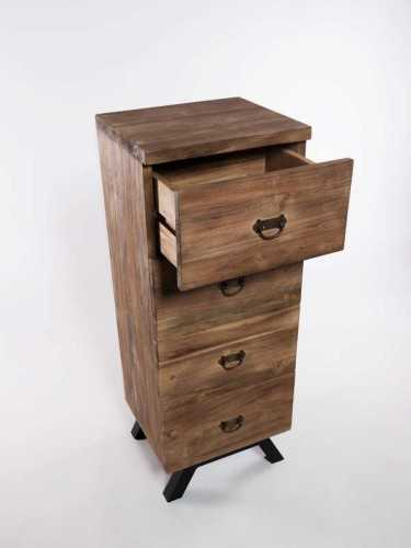 Kannawa Four-Drawer Chest Natural Black FurnitureStorage Systems And UnitsChests Of Drawers
