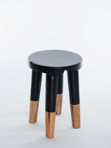 Josue Accent Stool - Black Black And Natural Socks FurnitureTables And ChairsStools
