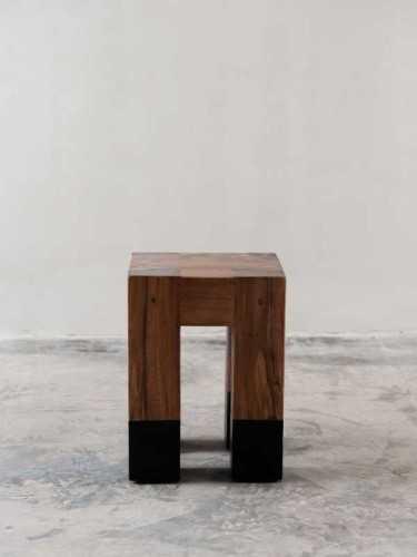 Foto produk  Lope Block Stool / Side Table Natural Black di Arsitag