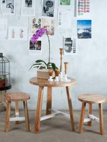 Alba White Tee Stool Natural X White FurnitureTables And ChairsStools