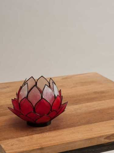Lotus Candleholder Red Red White DécorHome DecorationsCandle Holders