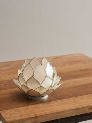 Lotus Candleholder White White Silver DécorHome DecorationsCandle Holders