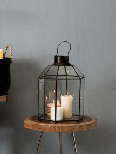 Foto produk  Solna Hexagon Brass Lantern/terrarium Antique Gold di Arsitag