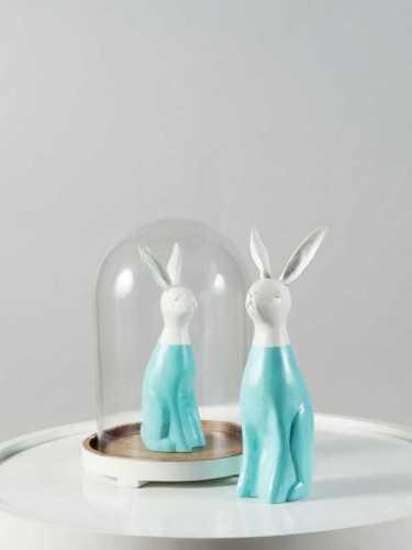 Usagi Rabbit Figure Large Size Turquoise White DécorHome DecorationsDecorative Objects