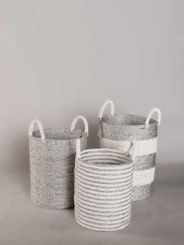 Foto produk  Chiado Silver Round Basket With Handle Large Silver White di Arsitag