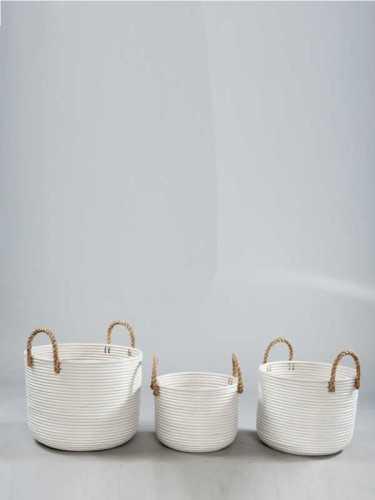Foto produk  Granada White Basket With Jute Handle Large White di Arsitag