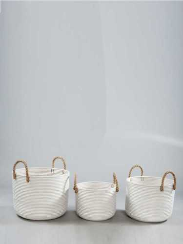 Granada White Basket With Jute Handle Medium White KitchenDining Table AccessoriesBaskets