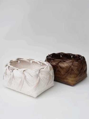 Karasuma Curly Basket Dark Brown White KitchenDining Table AccessoriesBaskets