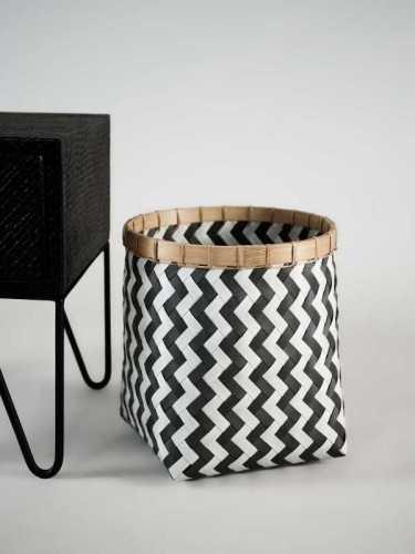 Lugano Basket Round Large Black White KitchenDining Table AccessoriesBaskets