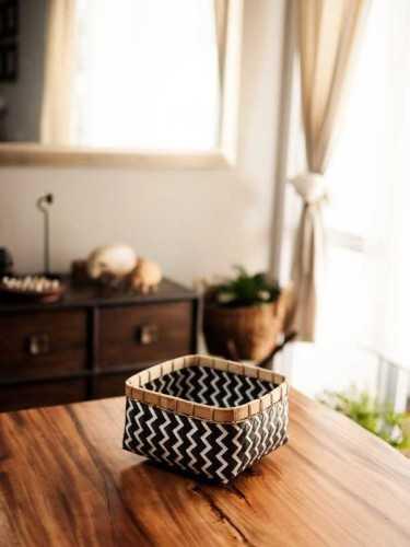 Lugano Rectangle Low Basket Medium Black White KitchenDining Table AccessoriesBaskets