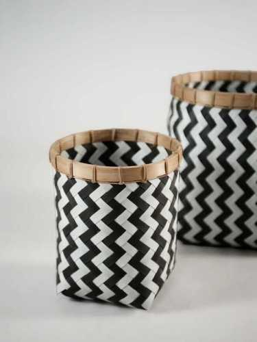 Lugano Round Basket Small Black White KitchenDining Table AccessoriesBaskets
