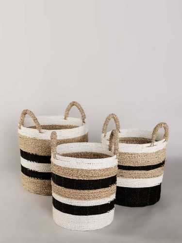 Pombal Round Tribal Basket Small Black White Natural KitchenDining Table AccessoriesBaskets