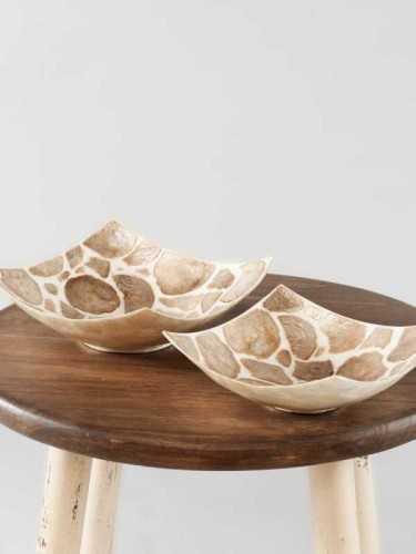 Envoler Capiz Square Bowl Large Golden Brown X White Natural KitchenDining Table AccessoriesBowls
