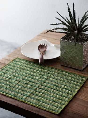 Midori Placemat (Set Of Two) Green Natural KitchenKitchen TextilesPlacemats