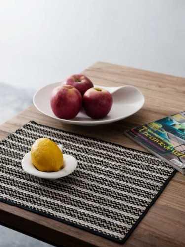Nodoguro Placemat (Set Of Two) Natural Black White KitchenKitchen TextilesPlacemats
