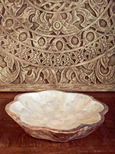 Mangkuk Bunga Placer White Capiz X Natural KitchenDining Table AccessoriesBowls