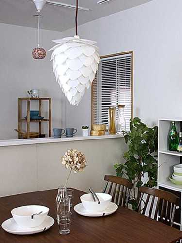 Foto produk  Conia White Large Pendant Hanging Lamp White And Black Cord di Arsitag
