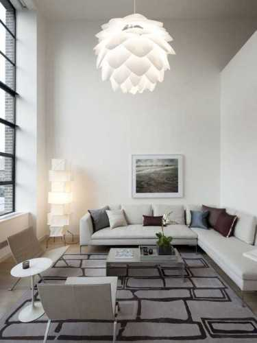 Silvia White Large Pendant Hanging Lamp White & Black Cord LightingInterior LightingPendant Lamps