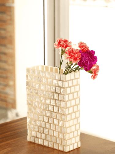 Vas Kotak Melanger White Capiz DécorHome DecorationsVases