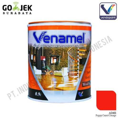 Venamel Kelas Medium Warna Poppy Carrot Orange Netto 0,9 L ConstructionPaints And VarnishesWood Treatments