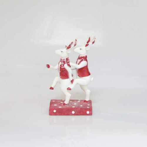 Object Deco Dancing Deer White Red DécorHome DecorationsDecorative Objects