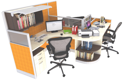 Foto produk  Curve Shaped Workstation With Visio Partition di Arsitag